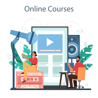 Piattaforma o servizio online di ingegnere del suono. industria della produzione musicale, apparecchiature per studi di registrazione del suono. formazione in linea, corso. illustrazione vettoriale