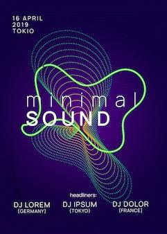 Volantino audio. forma e linea dinamica del gradiente. modello di rivista discoteca creativa. volantino con suono al neon. musica dance elettronica. evento fest elettronico