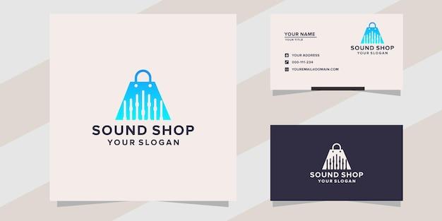Modello di logo del negozio di musica sonora