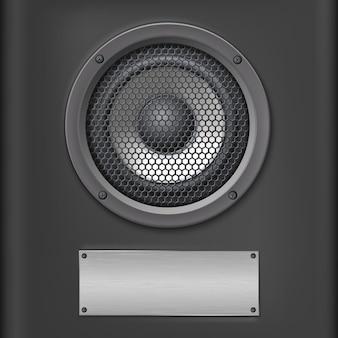 Altoparlante audio con piastra metallica su sfondo scuro