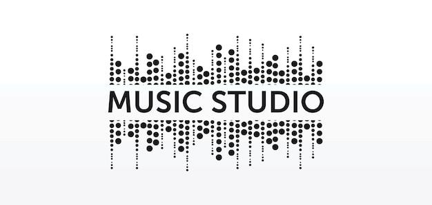 Concetto di logo dello studio audio, emblema del servizio musicale, equalizzatore, musica, logo del sistema audio, onde sonore etichetta design moderno semplice ed elegante isolato su immagine di sfondo bianco
