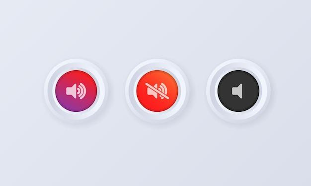 Set di icone del pulsante volume del suono. pulsante, segno, distintivo in stile 3d. volume del suono su