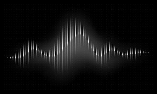 Onda sonora. illustrazione astratta di impulso di musica. onda radio a ritmo di voce audio, spettro vettoriale frequenza