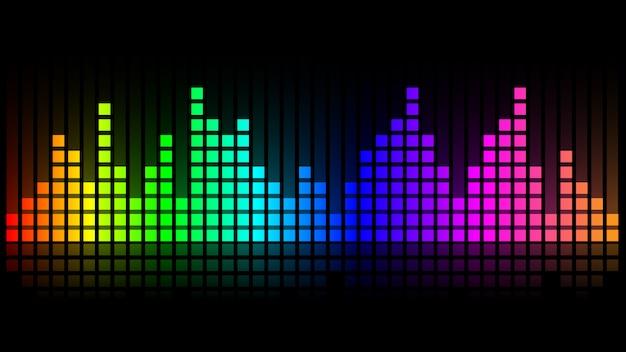 Visualizzazione delle onde sonore dell'equalizzatore in colore arcobaleno. illustrazione sulla dinamica dell'audio proveniente da apparecchiature elettroniche.