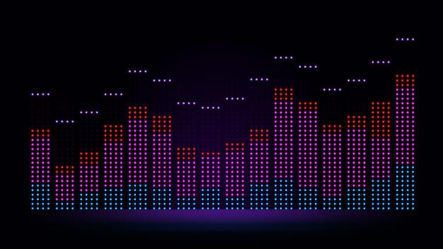Visualizzazione delle onde sonore dell'equalizzatore in colori vivaci. illustrazione sulla dinamica dell'audio proveniente da apparecchiature elettroniche.