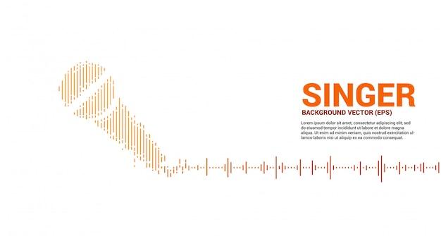 Icona microfono onda sonora sfondo equalizzatore. concetto grafico di stile visivo di karaoke e concerti