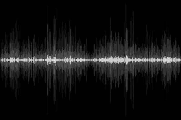 Ritmo dell'onda sonora su sfondo nero movimento astratto segnale audio simbolo illustrazione vettoriale