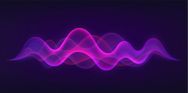 Onda sonora con imitazione della voce, suono. concetto di riconoscimento vocale. Vettore Premium
