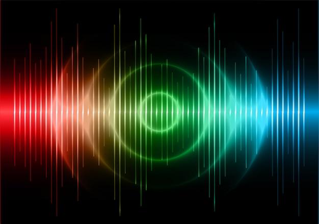 Onde sonore che oscillano luce verde blu rosso scuro