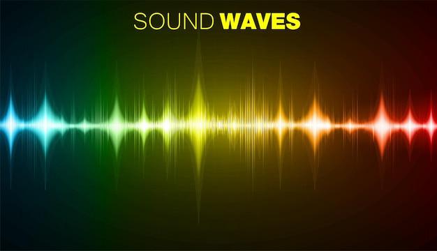 Onde sonore che oscillano la tecnologia audio vettoriale dell'equalizzatore radio della musica leggera scura
