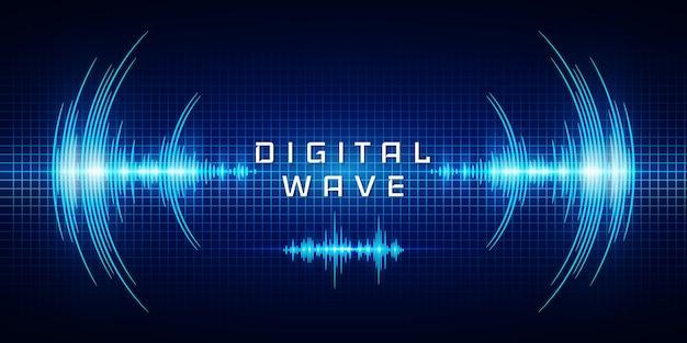 Onde sonore oscillanti bagliore di luce, onda digitale, fondo astratto di tecnologia.