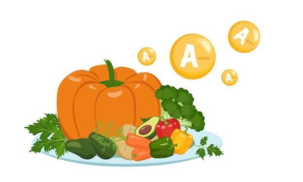Fonte di vitamina una raccolta di verdure ed erbe sul piatto dieta cibo stile di vita sano