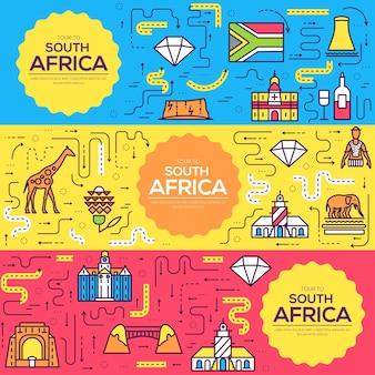 Set linea sottile di carte brochure sud africa. modello di paese di flyear, copertina del libro, banner.