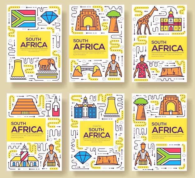 Set di linee sottili di carte del sud africa