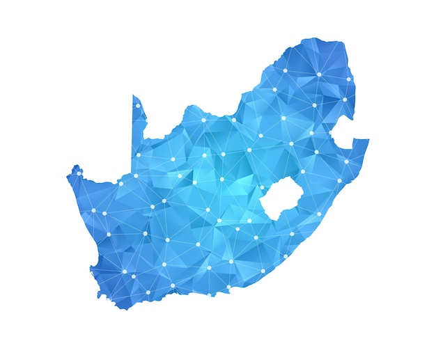 Sud africa mappa linea punti geometrici astratti poligonali.