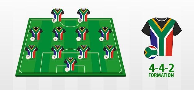 Formazione della squadra nazionale di calcio del sudafrica sul campo di calcio.