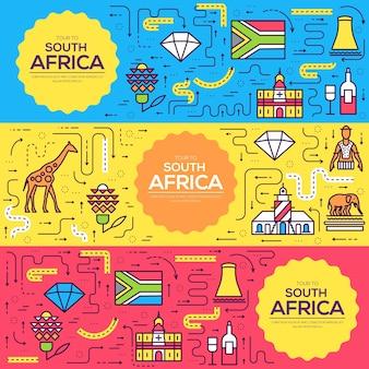 Insieme di sottile linea di carte dell'opuscolo di vettore del sudafrica