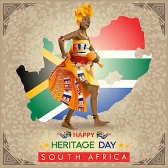 Auguri per la giornata del patrimonio sudafricano con traditonal performer