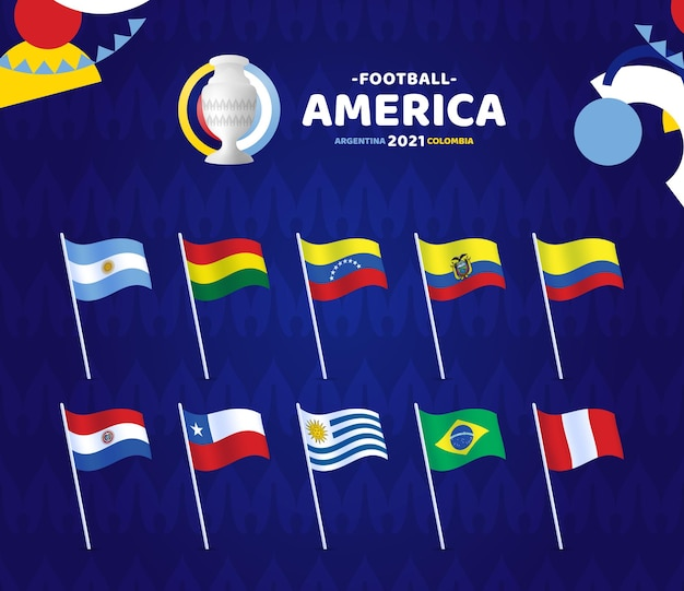 Illustrazione di south america football 2021 argentina colombia. impostare la bandiera dell'onda og in pole con il logo del campionato