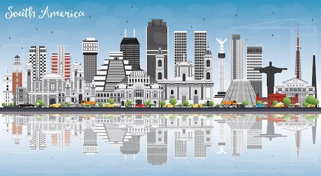 Orizzonte del sud america con famosi monumenti e riflessioni. illustrazione di vettore. viaggi d'affari e concetto di turismo. immagine per presentazione, banner, cartellone e sito web.