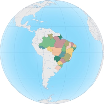 Il sud america con il brasile sul globo