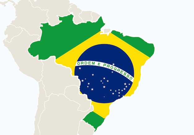 Sud america con mappa brasile evidenziata. illustrazione di vettore.