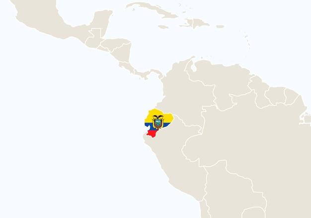 Sud america con mappa ecuador evidenziata. illustrazione di vettore.