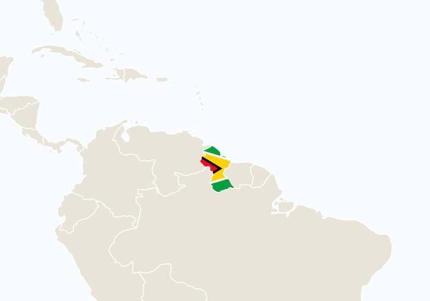 Sud america con mappa della guyana evidenziata. illustrazione di vettore.