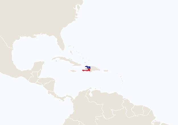 Sud america con mappa haiti evidenziata. illustrazione di vettore.