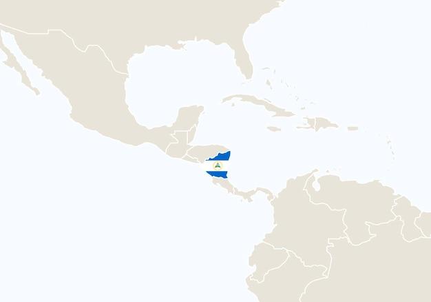 Sud america con mappa del nicaragua evidenziata. illustrazione di vettore.