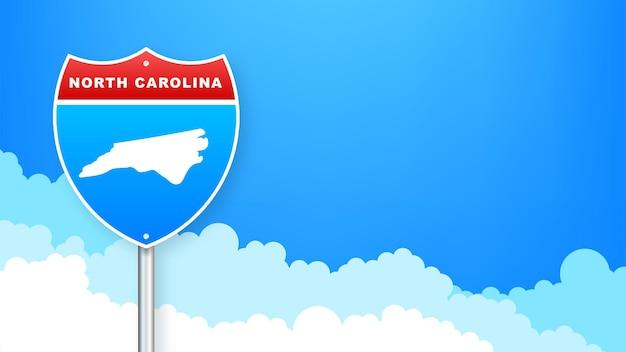 Mappa della carolina del sud sul cartello stradale. benvenuti nello stato della carolina del sud. illustrazione vettoriale.