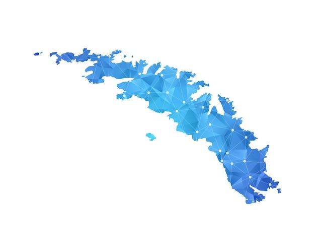 La georgia del sud e le isole sandwich meridionali mappano i punti della linea geometrica astratta poligonale.