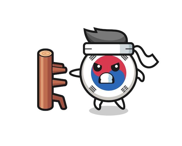 Illustrazione del fumetto della bandiera della corea del sud come combattente di karate, design carino