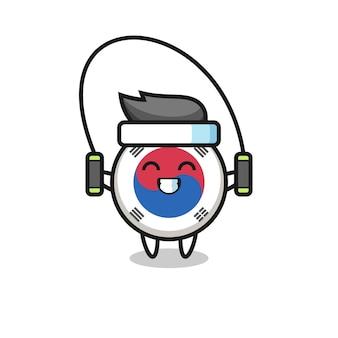 Fumetto del personaggio della bandiera della corea del sud con la corda per saltare, design carino