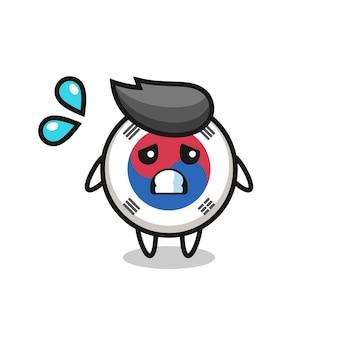 Personaggio mascotte bandiera sudcoreana con gesto impaurito, design carino