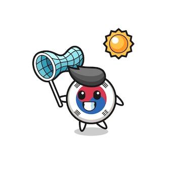 L'illustrazione della mascotte della bandiera della corea del sud sta catturando una farfalla, un design carino