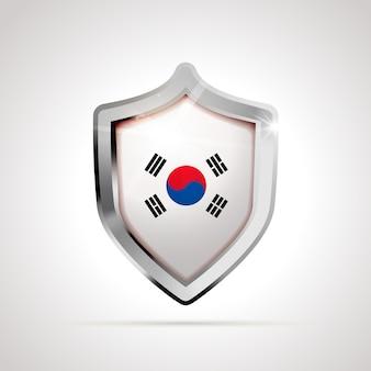 Bandiera della corea del sud proiettata come uno scudo lucido