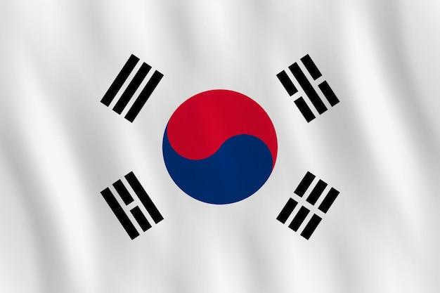 Bandiera della corea del sud con effetto ondeggiante, proporzione ufficiale.