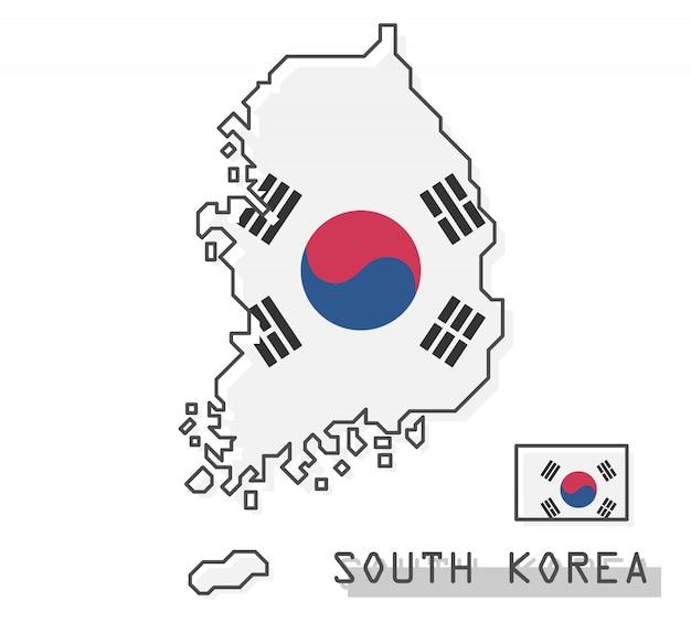 Mappa e bandiera della corea del sud