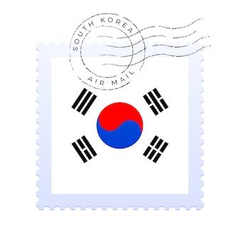 Contrassegno della corea del sud. bandiera nazionale francobollo isolato su sfondo bianco illustrazione vettoriale. timbro con motivo ufficiale della bandiera del paese e nome del paese