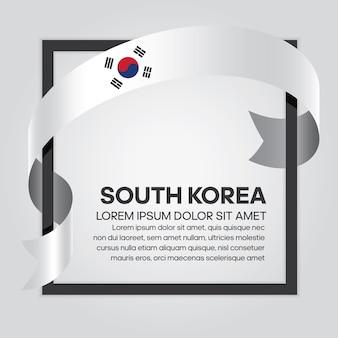 Bandiera del nastro della corea del sud, illustrazione vettoriale su sfondo bianco