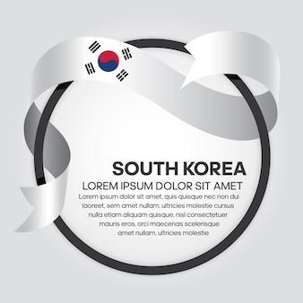 Bandiera del nastro della corea del sud illustrazione vettoriale su sfondo bianco