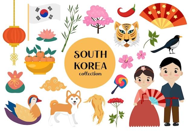 Corea del sud insieme di oggetti. collezione nazionale coreana di elementi di design con simboli tradizionali. clipart di illustrazione vettoriale.