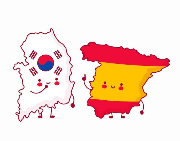 Illustrazioni della mappa della corea del sud e della spagna