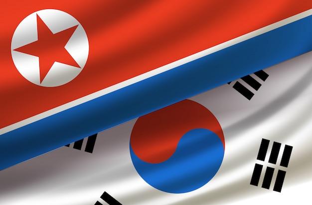 Corea del sud e del nord. sfondo vettoriale con bandiere