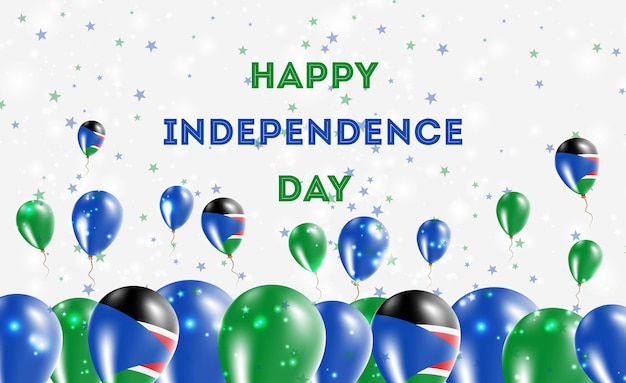 Design patriottico del giorno dell'indipendenza del sud sudan. palloncini nei colori nazionali del sud sudan. cartolina d'auguri di felice giorno dell'indipendenza.