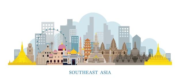 Luoghi d'interesse di skyline del sud-est asiatico