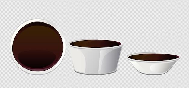 Salsa di sushi asiatica di soia in ciotola. elementi realistici per l'icona e il design del cibo