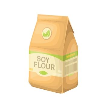 Farina di soia in un sacchetto di carta.