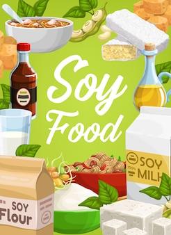 Cibo a base di soia e prodotti a base di soia: tagliatelle, formaggio di tofu, olio e farina di soia, salsa e germogli germinati con tempeh.